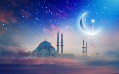 Ramadan Kareem background, Suleymaniye mosque in Istanbul, Turkey