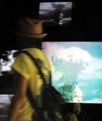 Images of nuclear mushroom clouds are displayed at Atomic Bomb Museum in Nagasaki, Japan.