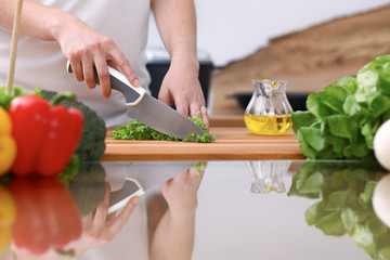 Closeup of two women are cooking in a kitchen. Friends having fun while preparing fresh salad.