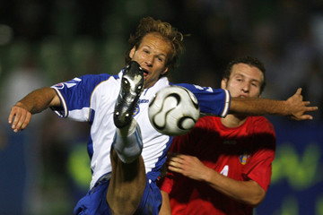 Bosnia's Muslimovic gets the ball in front of Moldova's Golovatenco during their Euro 2008 Group C qualifying soccer match in Sarajevo