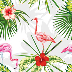 Composition exotic birds flamingos plants flowers light background