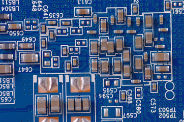 Close-up electronic components on a PCB.