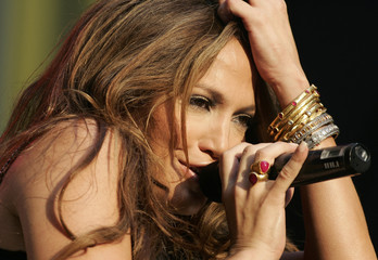 """Singer Jennifer Lopez performs on ABC's """"Good Morning America"""" television show in New York's Times Square"""