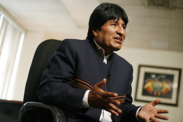 Bolivia's President Evo Morales speaks during an interview with Reuters in New York