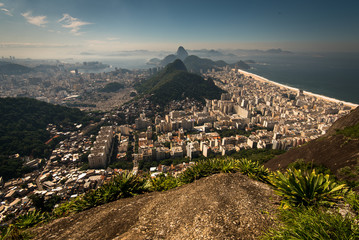 Fototapete - Aerial View of Copacabana District, the Sugarloaf Mountain in the Horizon, Rio de Janeiro, Brazil