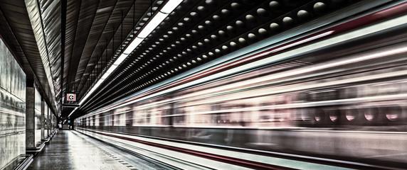 European metro transit vehicle in motion