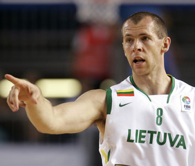 Lithuania's Siskauskas celebrates a point against Czech Republic during their game at the European Basketball Championships in Palma de Mallorca