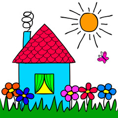 The children's drawing house, flowers, grass, sun