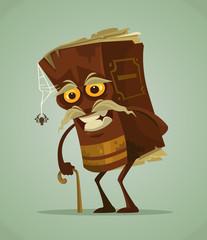 Happy smiling old book mascot character. Vector flat cartoon illustration