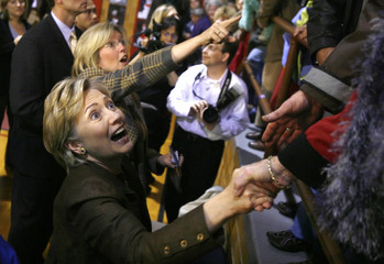 U.S. Presidential candidate Senator Hillary Clinton (D-NY) greets supporters after a campaign stop in Williamsburg