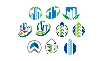 buildings 10 commercial vector icon logo symbols