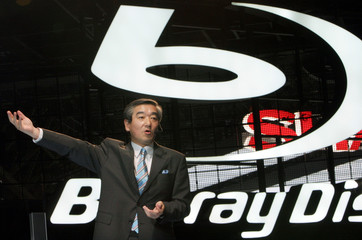 Sony Marketing Executive Shikano speaks at unveiling of Sony's new Blu-ray Disc products in Makuhari