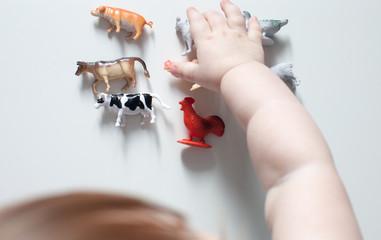 The kid chooses the animal figure