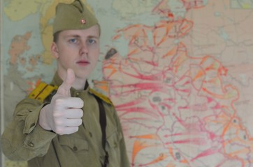 russian soldier with thumb up