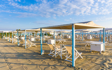 Forte dei Marmi sand beach with umbrellas and chairs, Versilia, Tuscany,Italy.
