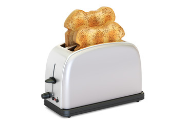 Toaster with bread, 3D rendering