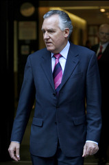 Work and Pensions Secretary Peter Hain announces his resignation outside the Department of Work and Pensions, in London