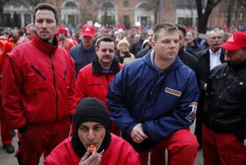 Employees of German industrial group Siemens attend protest in Berlin