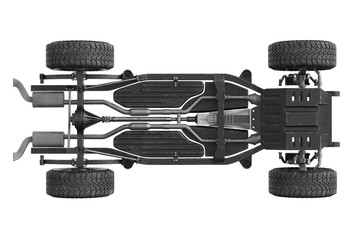 Chassis frame dirt underbody, bottom view. 3D rendering