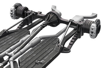 Chassis frame bridge with brake, close view. 3D rendering