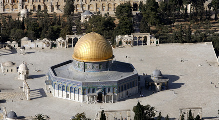 An aerial view of the old city of Jerusalem with the Dome of the Rock compound