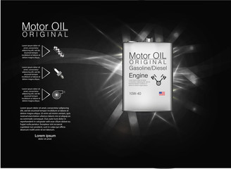Metal bottle engine oil background, vector illustration.