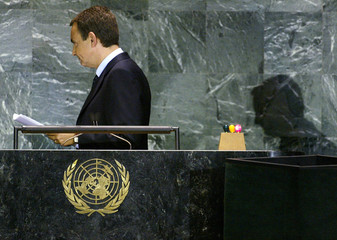 Prime Minister of Spain leaves podium after addressing United Nations General Assembly.