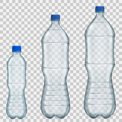 Set of transparent plastic bottles of various sizes with mineral water