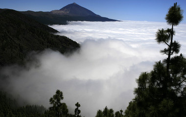 Clouds surround the Teide volcano on Tenerife, Spain's Canary Islands
