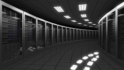 Modern big data center servers. 3D rendering