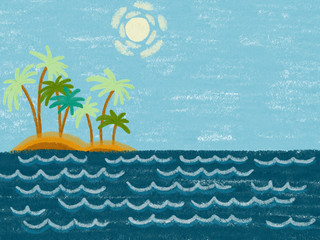 Colorful hand drawn ocean theme as blue waves of sea, island with palms and blue sky with sun on the blue chalk texture background. Cartoon illustration painted by paper chalk, high quality