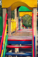 Bright colored structure on the Playground .