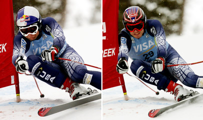 Combo photo of US skiers Rahlves and Miller at men's World Cup downhill in Beaver Creek