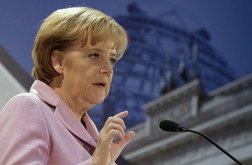 German Chancellor Merkel holds a speech during a meeting of the BGA, the Federation of German Wholesale and Foreign Trade, in Berlin