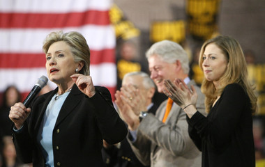 US Democratic presidential candidate Sen. Hillary Clinton speaks to supporters at a rally in Las Vegas