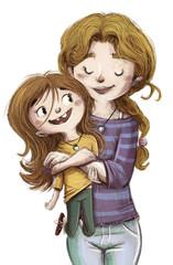 niña y su madre abrazadas