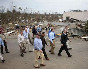 U.S. President Bush tours tornado damage in Americus
