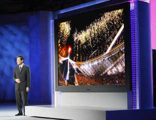 Sakamoto, president of Panasonic AVC Networks introduces what the company calls the world's largest flat panel television at his keynote address at the CES in Las Vegas