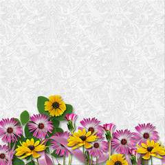 Beautiful flowers border on a white background