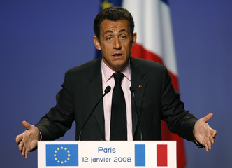 France's President Nicolas Sarkozy delivers a speech at the national council meeting of the UMP in Paris