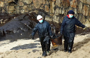 VOLUNTEERS CARRY A BUCKET OF OILY SAND AS THEY CLEAN UP A BEACH INNORTHERN SPAIN.
