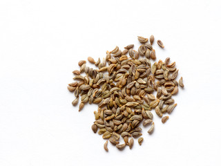 Parsley seed on white isolated background
