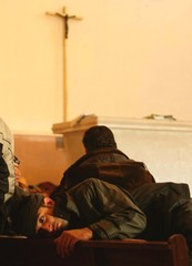 IRAQI ASYLUM SEEKER LIES INSIDE CHURCH IN CALAIS.