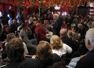 Republican presidential candidate US Senator John McCain (R-AZ) speaks at Mi Tierra Restaurant in San Antonio