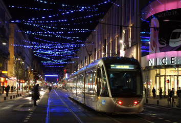 The new tram arrives on Massena square in Nice
