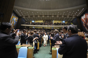 Pope Benedict XVI arrives at the United Nations General Assembly at the U.N. headquarters in New York