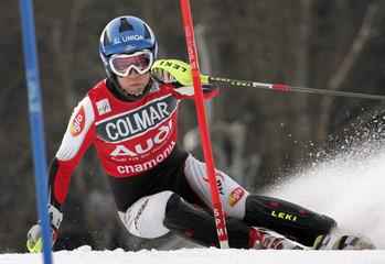 Benjamin Raich of Austria speeds to finish second in the men's Alpine skiing World Cup slalom in Chamonix.