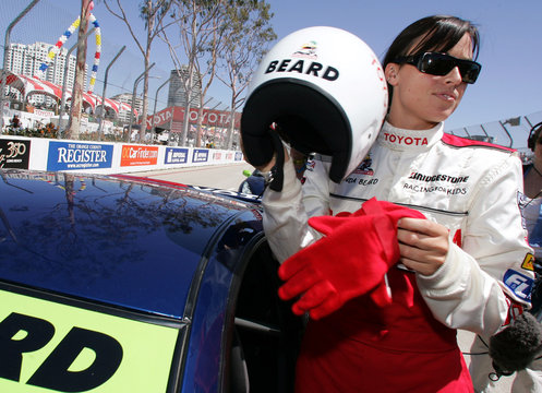 Olympic swimmer Amanda Beard gets into her car at the 29th Annual Pro/Celebrity Race.