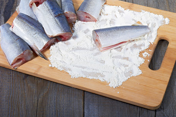 Vendace prepared for frying
