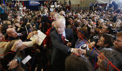 US Republican presidential candidate Senator McCain greets supporters at a campaign rally at Sacred Heart University in Fairfield, Connecticut